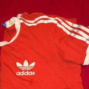 Adidas 3 stripe red tee